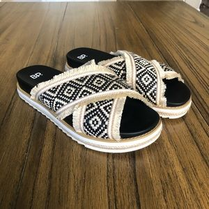 BP tribal Black and Tan slip on slides sandals